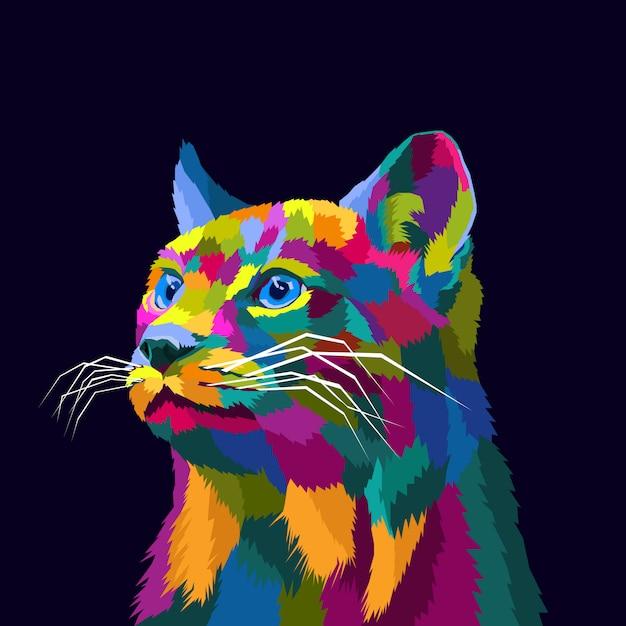 Illustrazione premio di vettore di pop art variopinto del gatto Vettore Premium