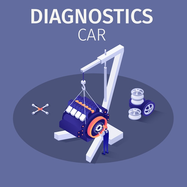 Illustrazione professionale di servizio dell'automobile di diagnostica Vettore Premium