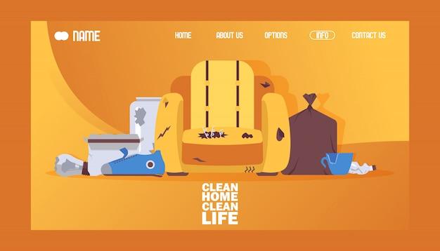 Illustrazione pulita di vettore di progettazione del sito web dell'insegna di vita pulita domestica. sedia rotta e sporca, borsa con immondizia o spazzatura. Vettore Premium