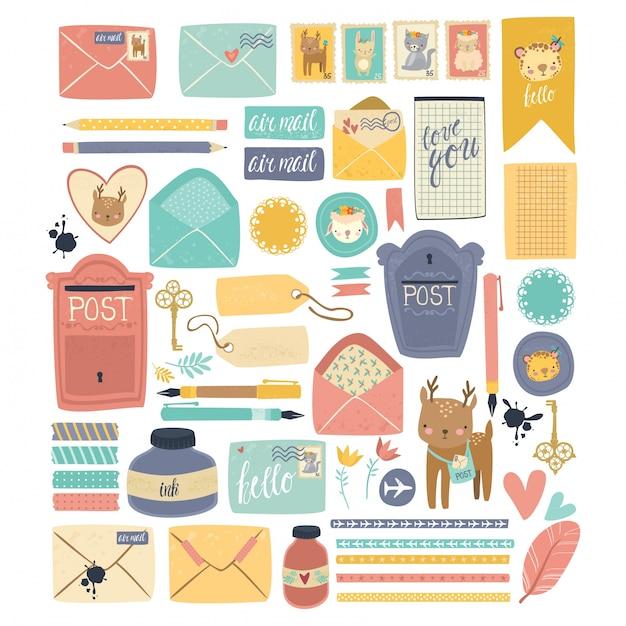 Illustrazione raccolta postale Vettore Premium