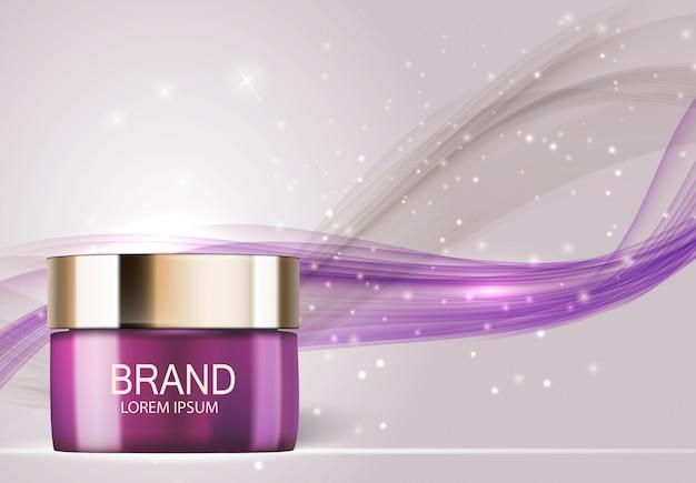 Illustrazione realistica 3d del prodotto di cosmetici di progettazione Vettore Premium