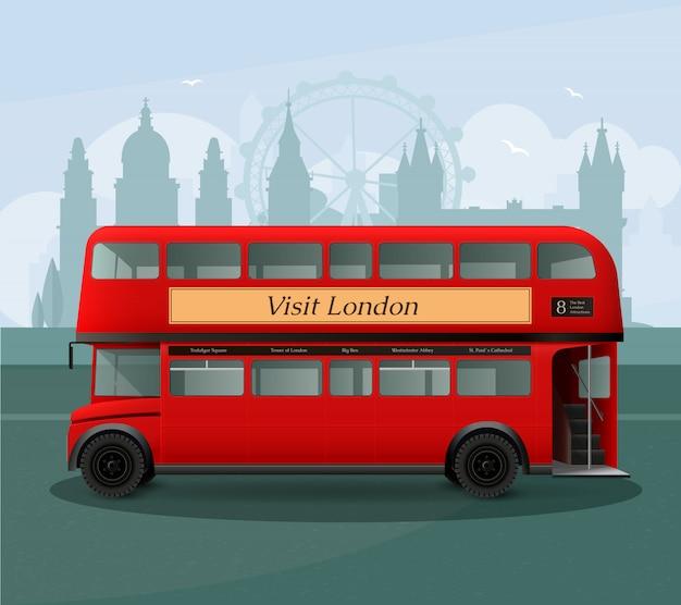 Illustrazione realistica dell'autobus a due piani di londra Vettore gratuito