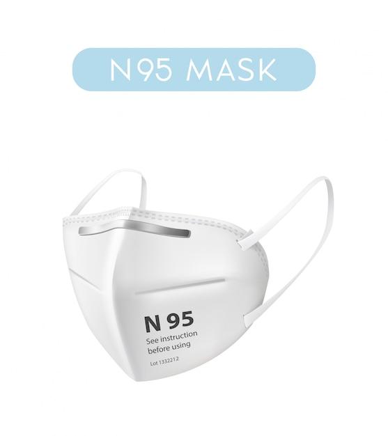Illustrazione realistica della maschera di protezione n95 su fondo bianco. l'ospedale o l'inquinamento proteggono il mascheramento del viso Vettore Premium