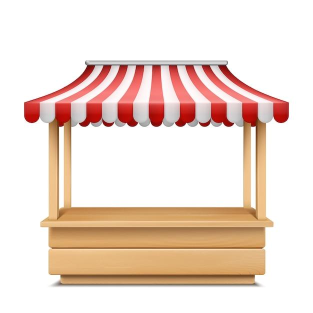 Illustrazione realistica della stalla del mercato vuoto con tenda a strisce rossa e bianca Vettore gratuito