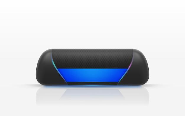 Illustrazione realistica di altoparlante portatile nero isolato su sfondo bianco. Vettore gratuito