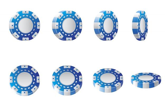 Illustrazione realistica di fiches del casinò blu e bianco. poker, casinò, vegas. Vettore gratuito