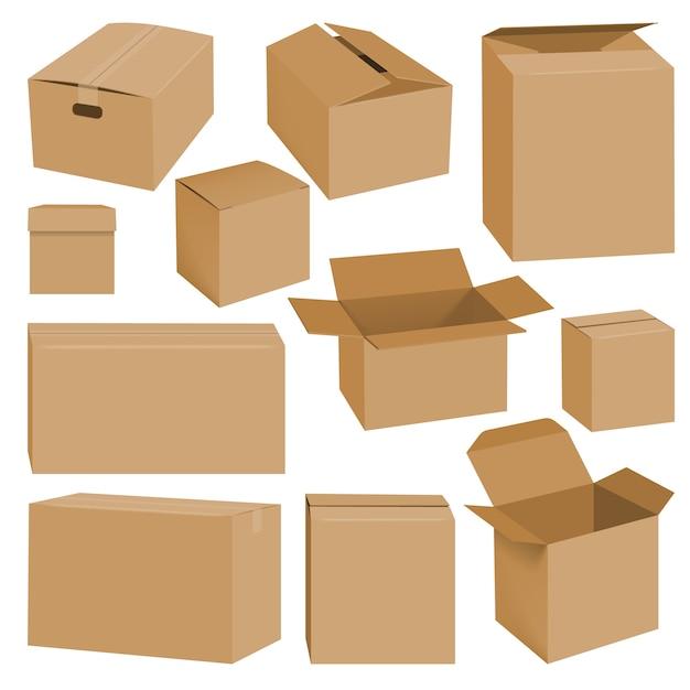 Illustrazione realistica di mockup di scatola di cartone per il web Vettore Premium