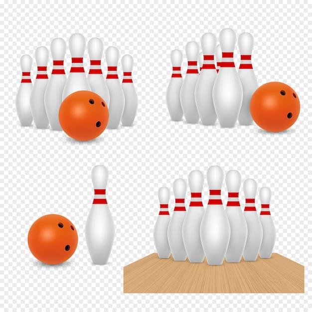 Illustrazione realistica di vettore dei birilli e della palla da bowling Vettore Premium