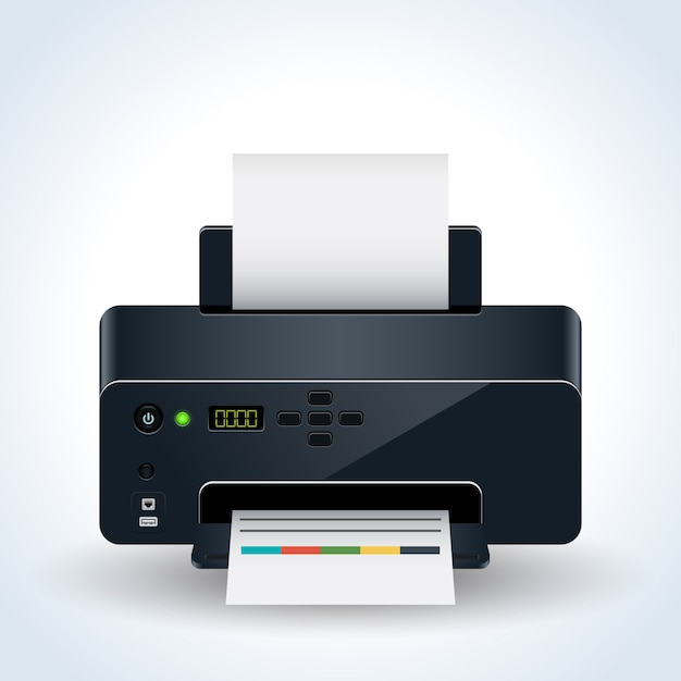 Illustrazione realistica di vettore della stampante da tavolino moderna Vettore Premium