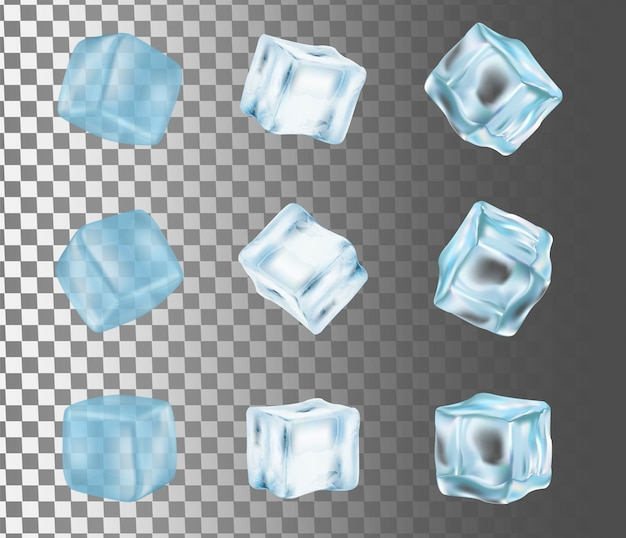 Illustrazione realistica di vettore isolata cubetto di ghiaccio Vettore Premium