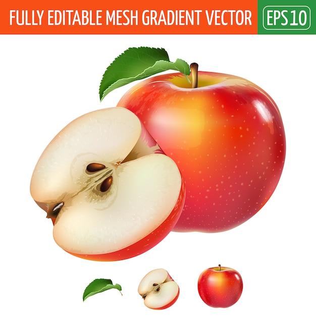 Illustrazione rossa della mela su bianco Vettore Premium