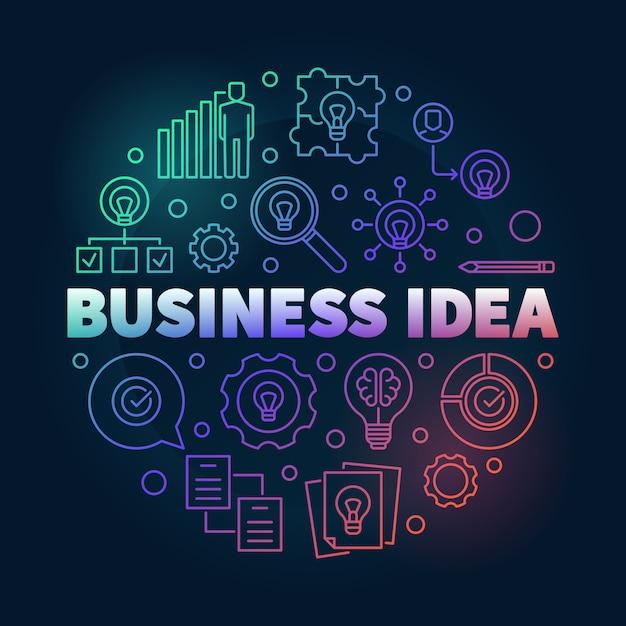 Illustrazione rotonda creativa del profilo di idea di affari Vettore Premium