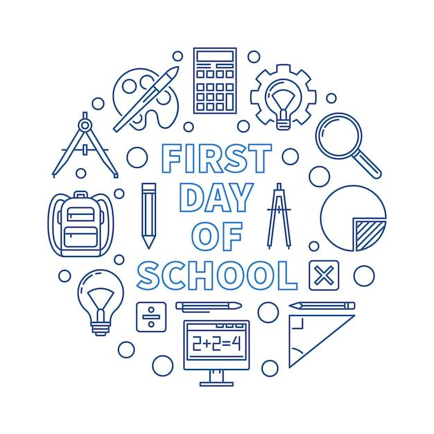 Illustrazione rotonda del blu del profilo di vettore del primo giorno di scuola Vettore Premium
