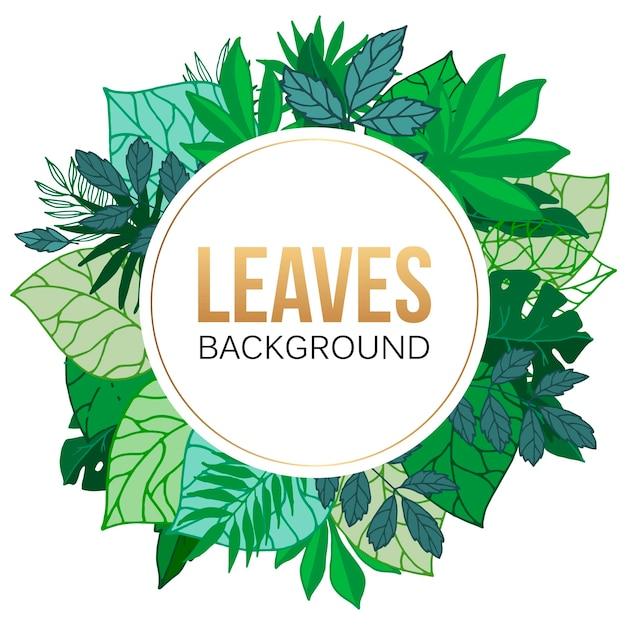 Illustrazione rotonda della struttura delle foglie di palma tropicali. fogliame verde esotico con foglie di palma e alberi. Vettore Premium