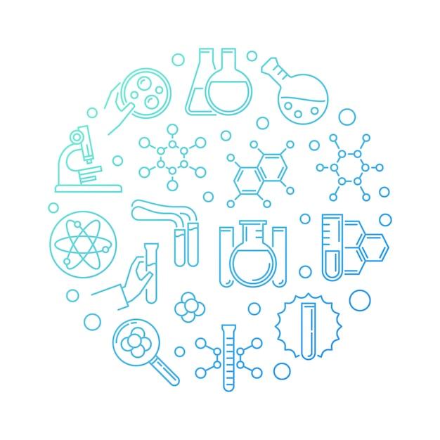 Illustrazione rotonda lineare dell'icona di concetto moderno blu di chimica Vettore Premium