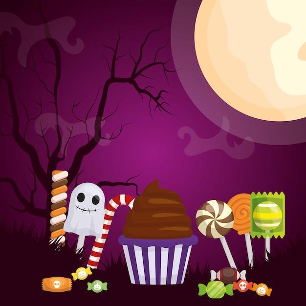 Illustrazione scura di halloween con le caramelle stabilite Vettore gratuito