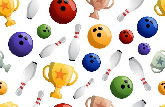 Illustrazione senza cuciture del modello del gioco di bowling. palla che si schianta contro i perni, ottenendo un colpo. torneo di bowling. vincitore del campionato. coppe della vittoria Vettore Premium