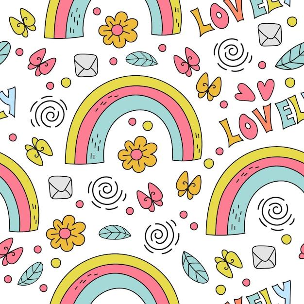Illustrazione senza cuciture del modello di festa comica del fumetto di rainbow Vettore Premium