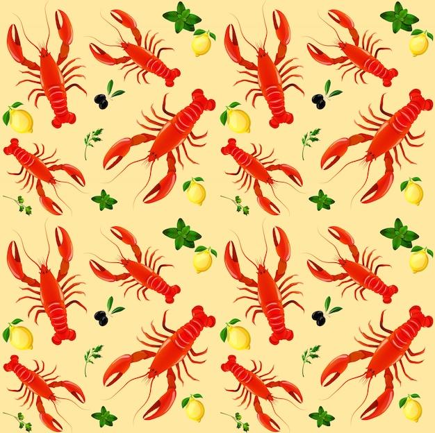 Illustrazione senza cuciture di vettore del modello dell'oliva del limone del prezzemolo di menta dei frutti di mare dell'aragosta Vettore gratuito