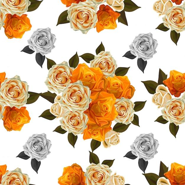 Illustrazione senza cuciture di vettore della rosa di giallo di spirito del modello del fiore Vettore Premium
