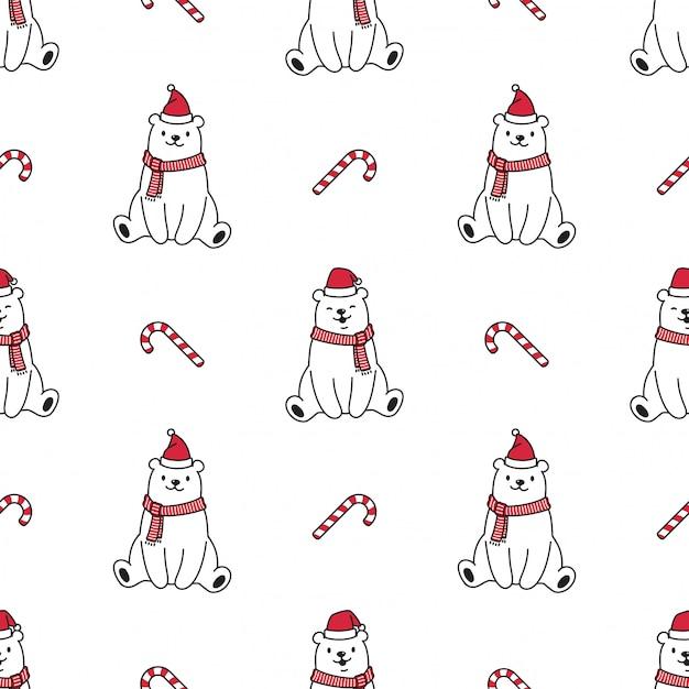 Illustrazione senza cuciture polare del cappello di santa claus di natale del modello dell'orso Vettore Premium