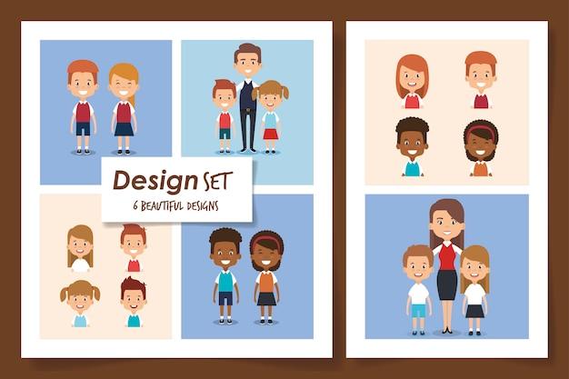 Illustrazione set di scene piccoli studenti Vettore Premium