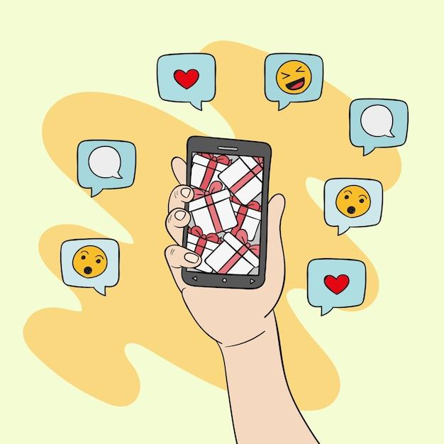 Illustrazione sociale del telefono cellulare di vendita di media Vettore gratuito