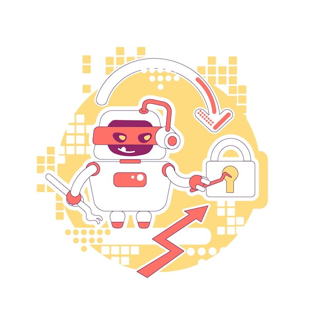 Illustrazione sottile di concetto del bot del pirata informatico. rubare password, dati e contenuti dell'account personale. personaggio dei cartoni animati del robot raschietto cattivo per il web. idea creativa di attacco informatico Vettore Premium