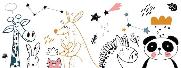 Illustrazione stabilita del fumetto animale Vettore Premium