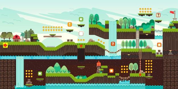 Illustrazione stabilita del gioco della piattaforma delle mattonelle Vettore Premium