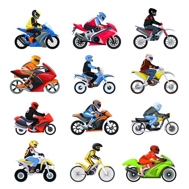 Illustrazione stabilita del motociclo isolata, caratteri differenti del tipo motociclista sulle motociclette di sport. Vettore Premium