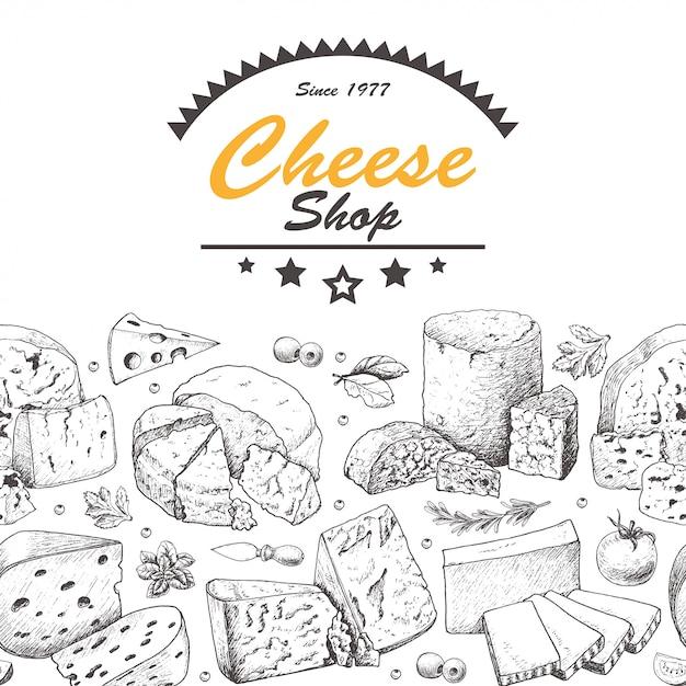 Illustrazione stabilita di formaggio Vettore Premium