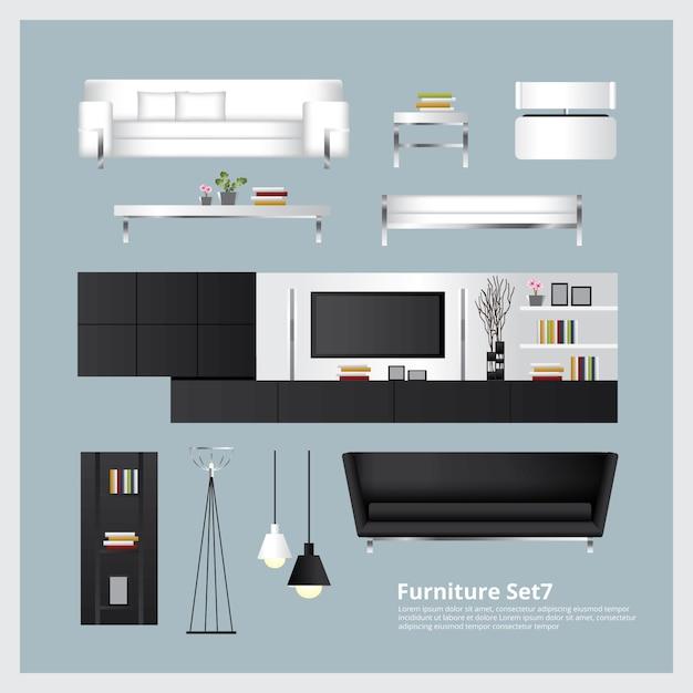 Illustrazione stabilita di vettore della decorazione domestica e della mobilia Vettore Premium