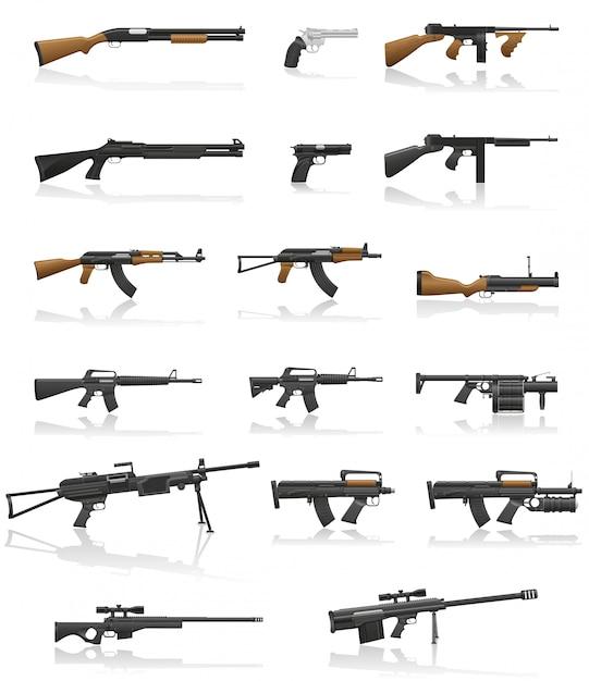 Illustrazione stabilita di vettore della raccolta della pistola e dell'arma Vettore Premium