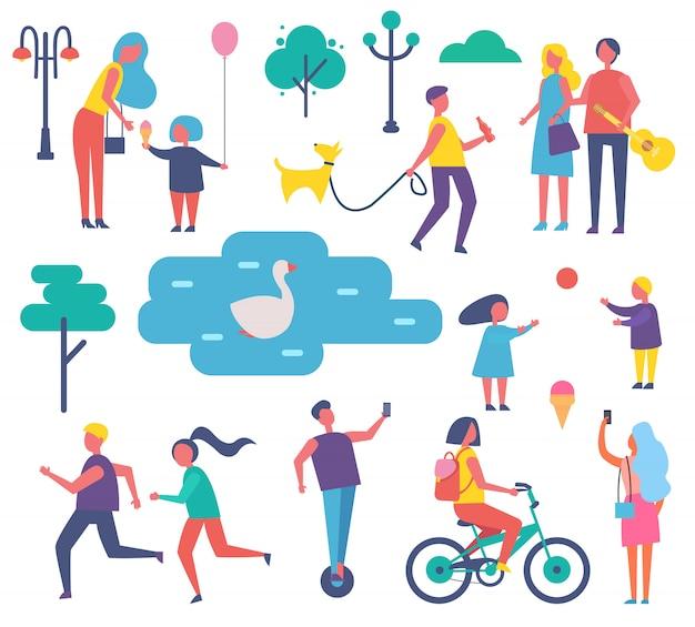 Illustrazione stabilita di vettore di attività della gente del parco Vettore Premium