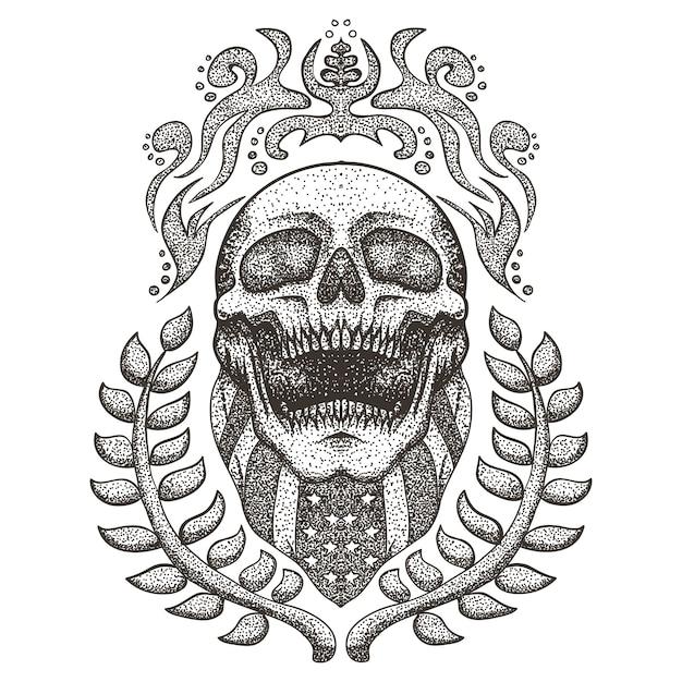 Illustrazione strappata di vettore della bandiera di usa del cranio Vettore Premium