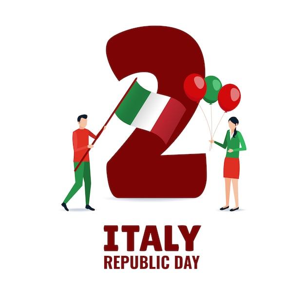 Illustrazione sul tema festa della repubblica italiana Vettore Premium