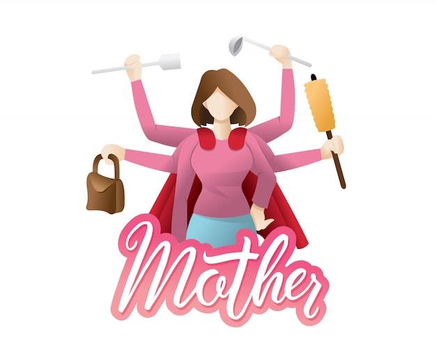Illustrazione super mamma Vettore Premium