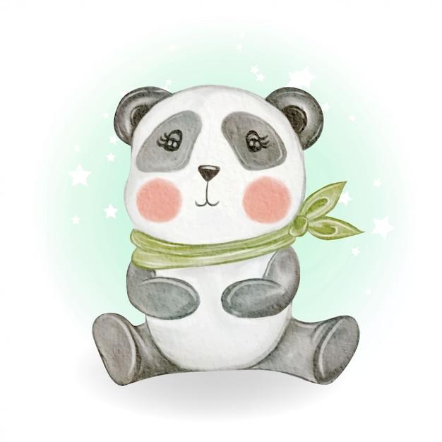 Illustrazione sveglia adorabile dell'acquerello del panda del bambino di kawaii Vettore Premium