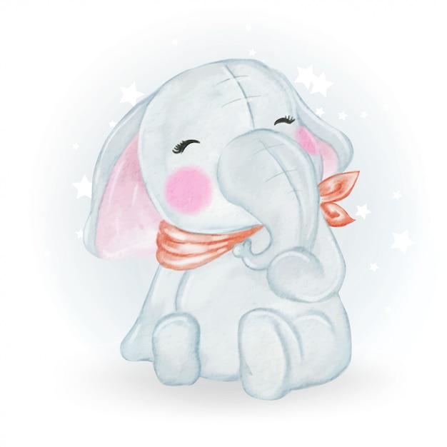 Illustrazione sveglia adorabile dell'acquerello dell'elefante del bambino di kawaii Vettore Premium