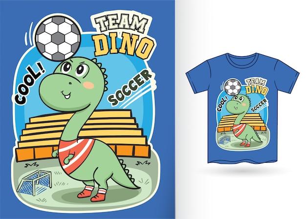 Illustrazione sveglia del calciatore di dino per la maglietta Vettore Premium