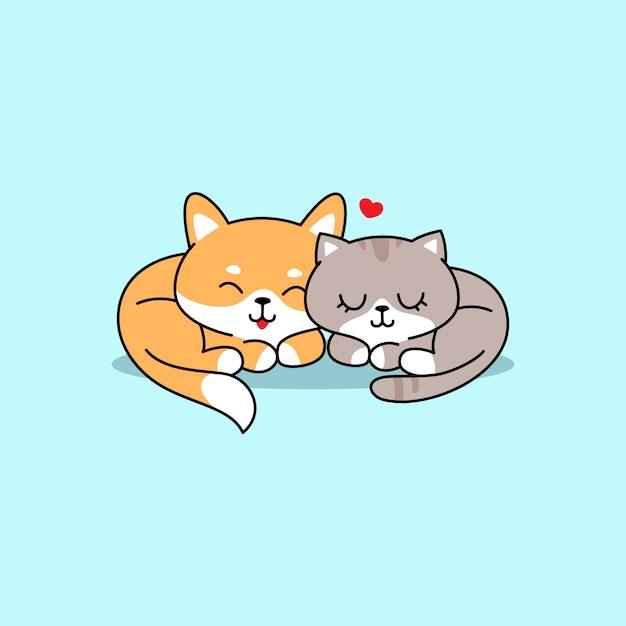 Illustrazione sveglia del cane e del gatto, inu di shiba che dorme con il gatto sveglio Vettore Premium