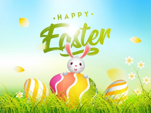 Illustrazione sveglia del coniglietto con le uova di pasqua variopinte nascoste in gras Vettore Premium