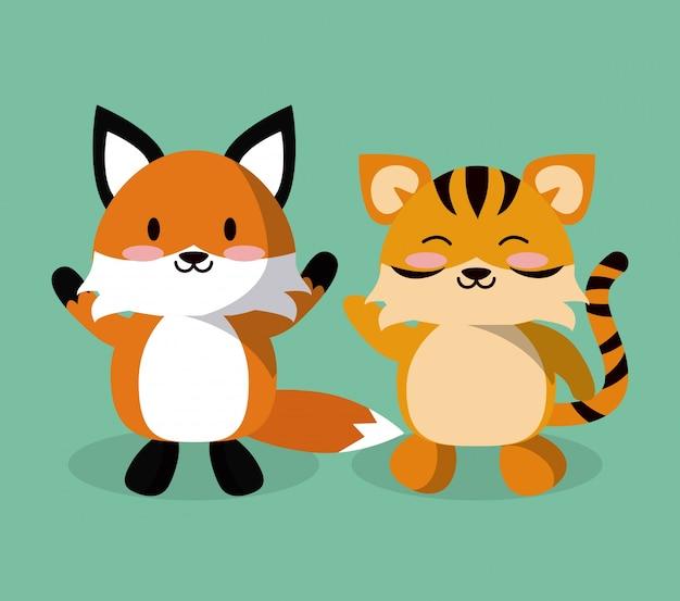 Illustrazione sveglia del fumetto della volpe e della tigre