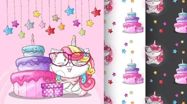 Illustrazione sveglia del modello della festa di compleanno di caticorn Vettore Premium
