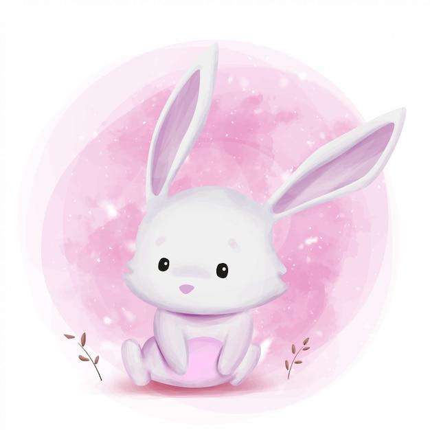 Illustrazione sveglia dell'acquerello del coniglietto Vettore Premium