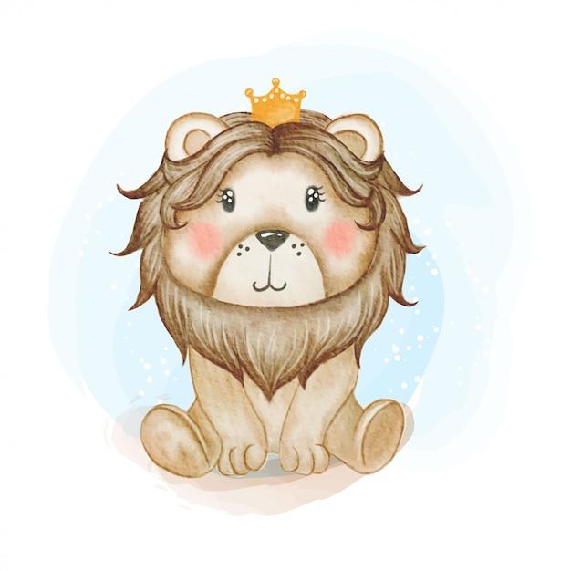Illustrazione sveglia dell'acquerello di re leone del bambino Vettore Premium