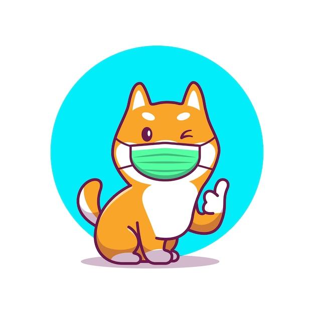 Illustrazione sveglia dell'icona del fumetto della maschera di usura di shiba inu. personaggio mascotte animale. bianco di concetto dell'icona animale di salute isolato Vettore Premium
