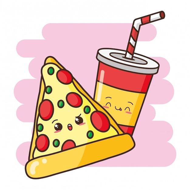 Illustrazione sveglia della bevanda e della pizza degli alimenti a rapida preparazione di kawaii Vettore gratuito