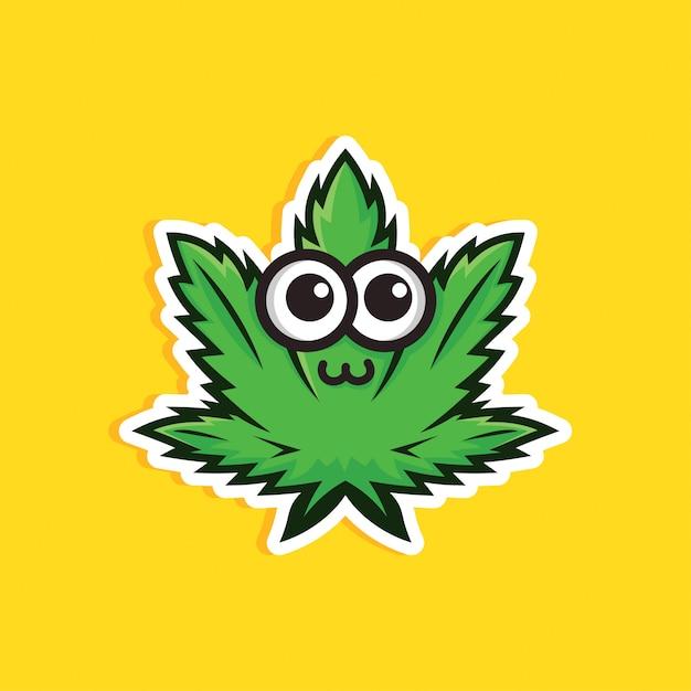 Illustrazione sveglia della foglia della cannabis su giallo. Vettore Premium